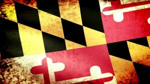 stock-footage-maryland-state-flag-waving-grunge-look